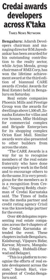 Credai awards developers across Karnataka