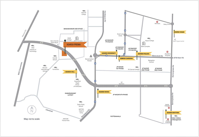 Adarsh Gardens Location Map