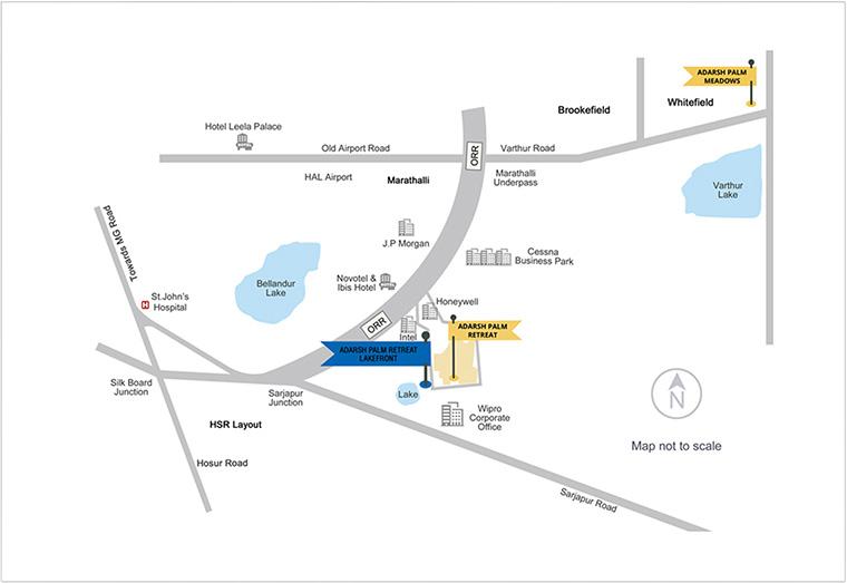 Adarsh Palm Retreat Condominiums Location Map