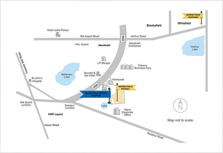 Adarsh Palm Retreat - Lakefront Location Map