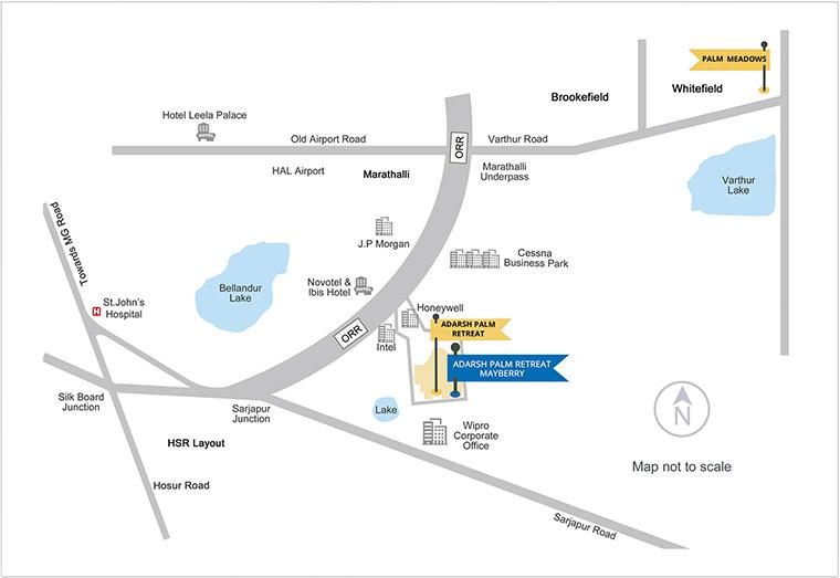 Adarsh Palm Retreat Mayberry Location Map