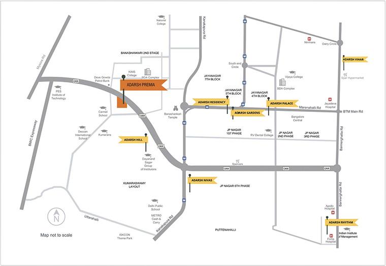 Adarsh Residency Location Map